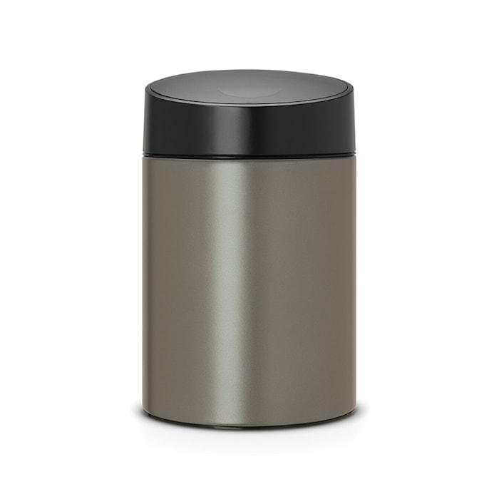 Slide Bin med svart plastlock, plastinnerhink (går att montera på vägg) 5 L Platinum