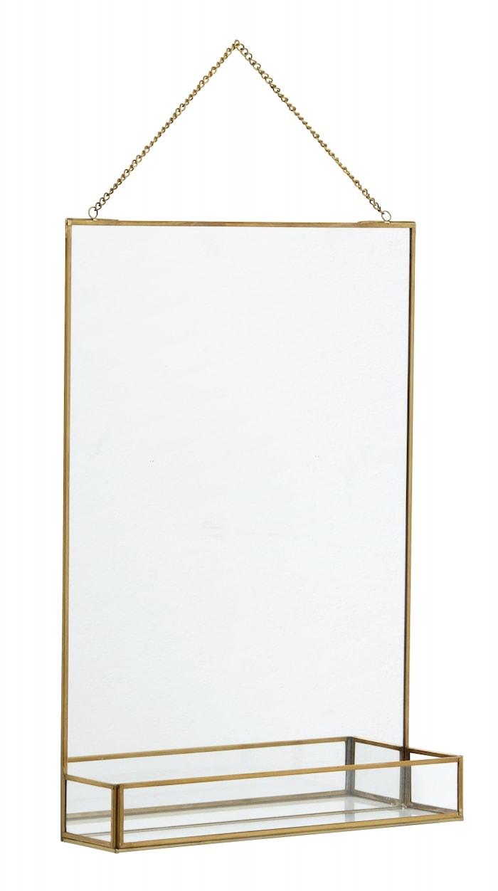 Speil med Hylle Jern i Gullfinish