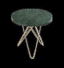 Tall Mini O Sidebord Grønn Marmor med Messingramme Ø50