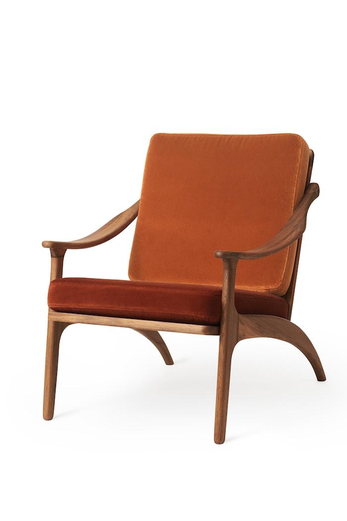 Lean Back Lounge Chair Rusty Rose velvet/Brick Red Sammet Teak