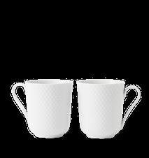 Rhombe Krus med håndtag 33 cl Hvid Porcelæn 2-Pak