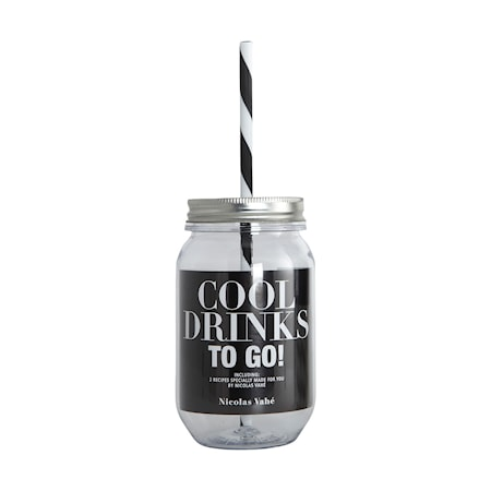COOL DRINKS Vattenflaska med sugrör 55cl