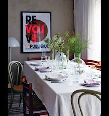 Lovely linen tablecloth duk – Off white, 145x300