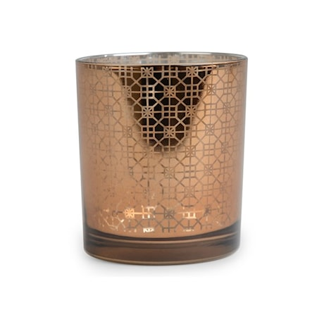 Lyslykt i glass, med mønster