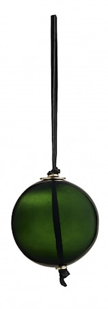 Glass hanger, d.green, w/suede string