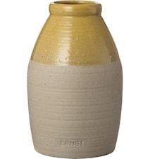 Vaas halfgeglazuurd 16 cm - Zand/Geel