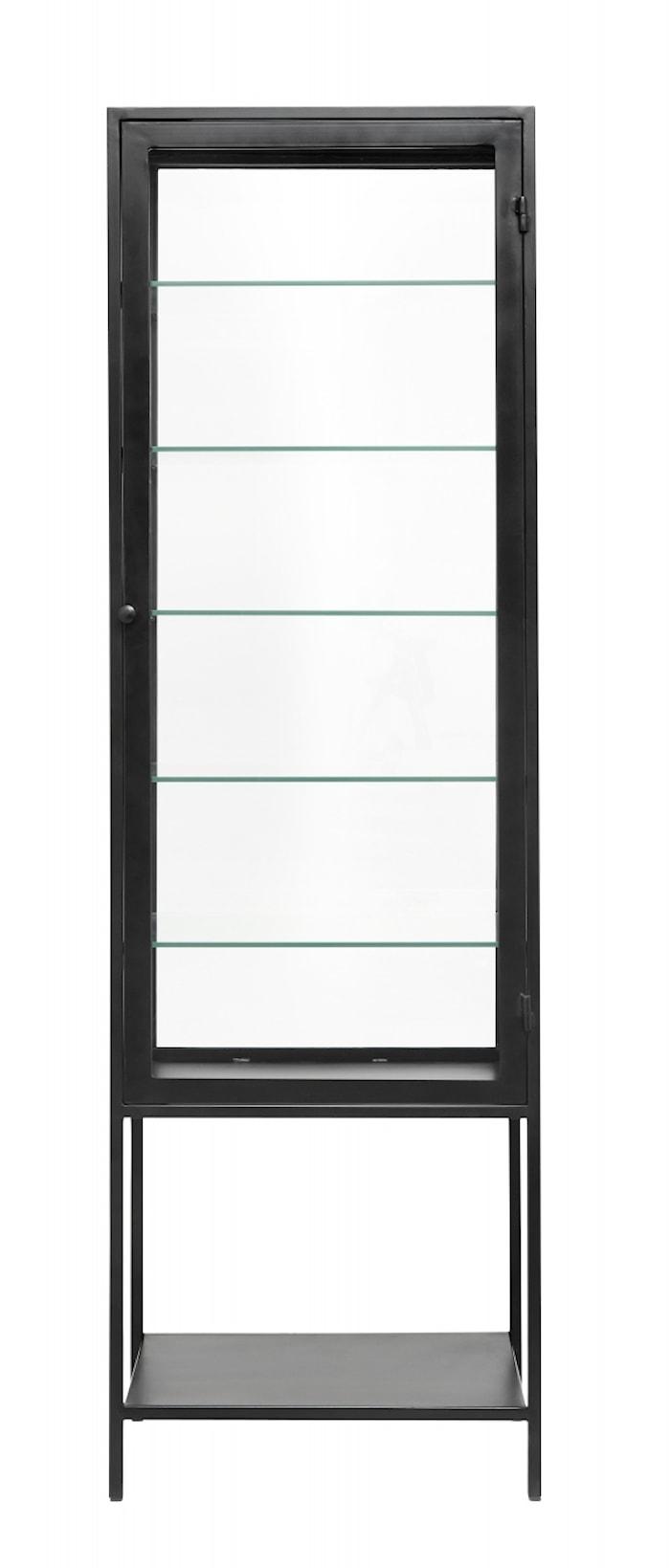 MONDO Vitrineskap Jern/Glass Svart 198x61cm