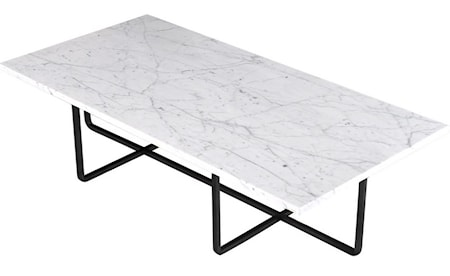 OX DENMARQ Ninety Table XL - Carrara marmor/svartlackerad metallstomme H30 cm