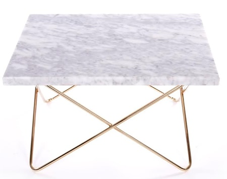 OX DENMARQ Xsmall table - white, brass frame