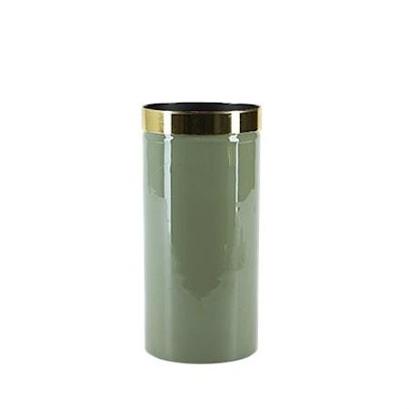 Grønn Vase Med Gullkant, 20 x 10 cm