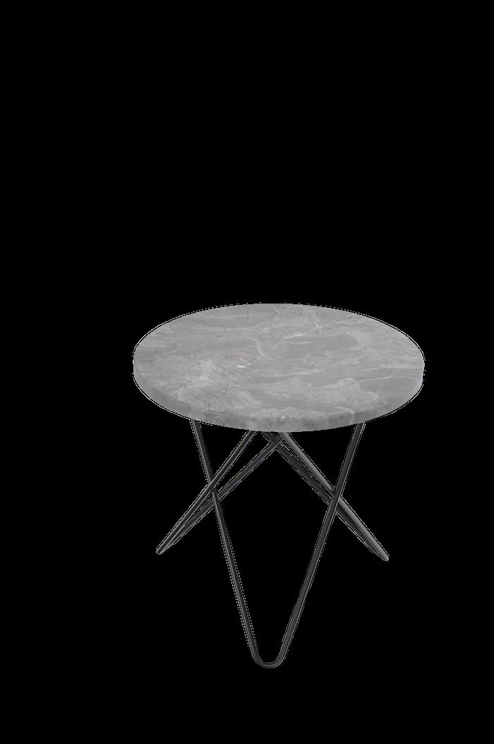 Mini O Table Grå Marmor med Svart Ram Ø40