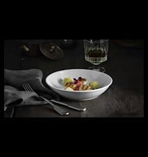 Plissé Sallad-/Pastatallerken 23 cm Hvit