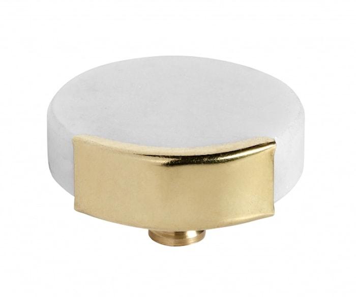 MANOPOLA/GANCIO, cerchio in marmo bianco, ottone