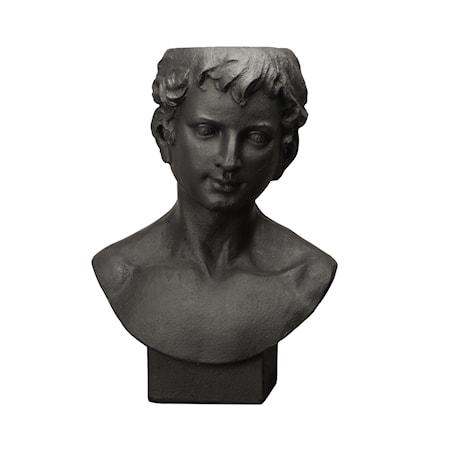 Kruka Statue Ansikte Svart