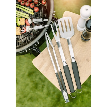BBQ set 3st Tång 50,2 cm, stekspade 51,5cm, gaffel 52cm rostfritt stål