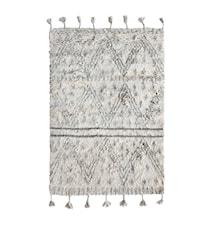 Handvävd Ullmatta Vit/Svart 120x180 cm