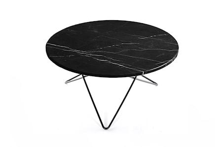 O Table Svart Marmor med Svart Ramme Ø80