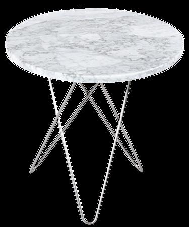 Tall Mini O Table Matt Hvit Marmor Rustfri Stålramme Ø50