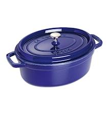 Oval gryte 29 cm blå, 3 lager emalje 4,2 L