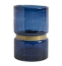 Vase RING verre bleu L