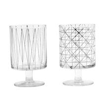 IBI glas w. sølv mønster