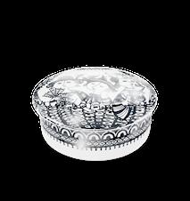 Dåse med låg, Aida, sølv, Ø12 cm