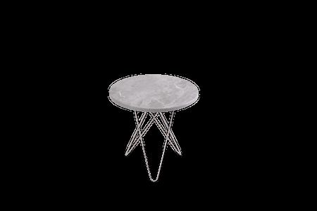 Tall Mini O Table Grå Marmor Rostfri Stålram Ø50