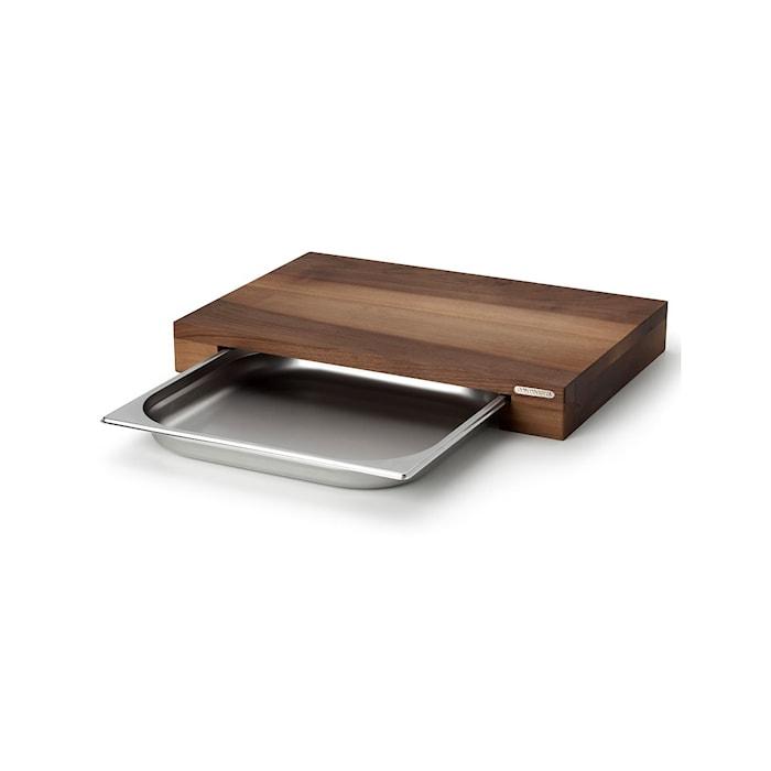 Leikkuulauta, saksanpähkinä murulaatikolla, pieni, 39 x 27x 6 cm