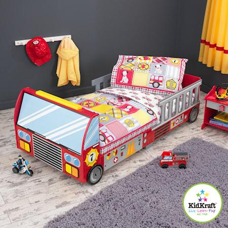 Fire truck barn sengetøj