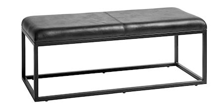 Bänk i läder 123 cm Svart