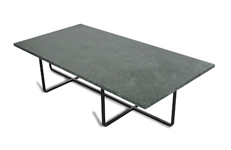 OX DENMARQ Ninety Table XL - Grön marmor/svartlackerad metallstomme H40 cm