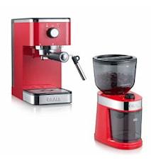 Salita Set Espressomaskin och Kaffekvarn Röd