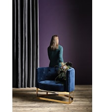 Lounge chair fåtölj - Dark blue/brass