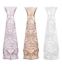 Vase - 3 stk. - Glass - Nude - Klar - Rose - D 7,0cm - H 20,0cm - Gaveæske