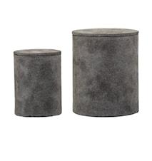 Oppbevaringsboksr 2 st. Grå Semsket 7,5x10/11x13 cm