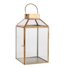 Laterne Klein Glas / Metall Messing 25,5 cm