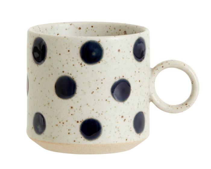 Grainy Dot kopp med Öra Sand/Blå
