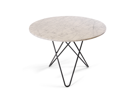 Large O Table Matt Hvit Marmor med Svart Ramme Ø100