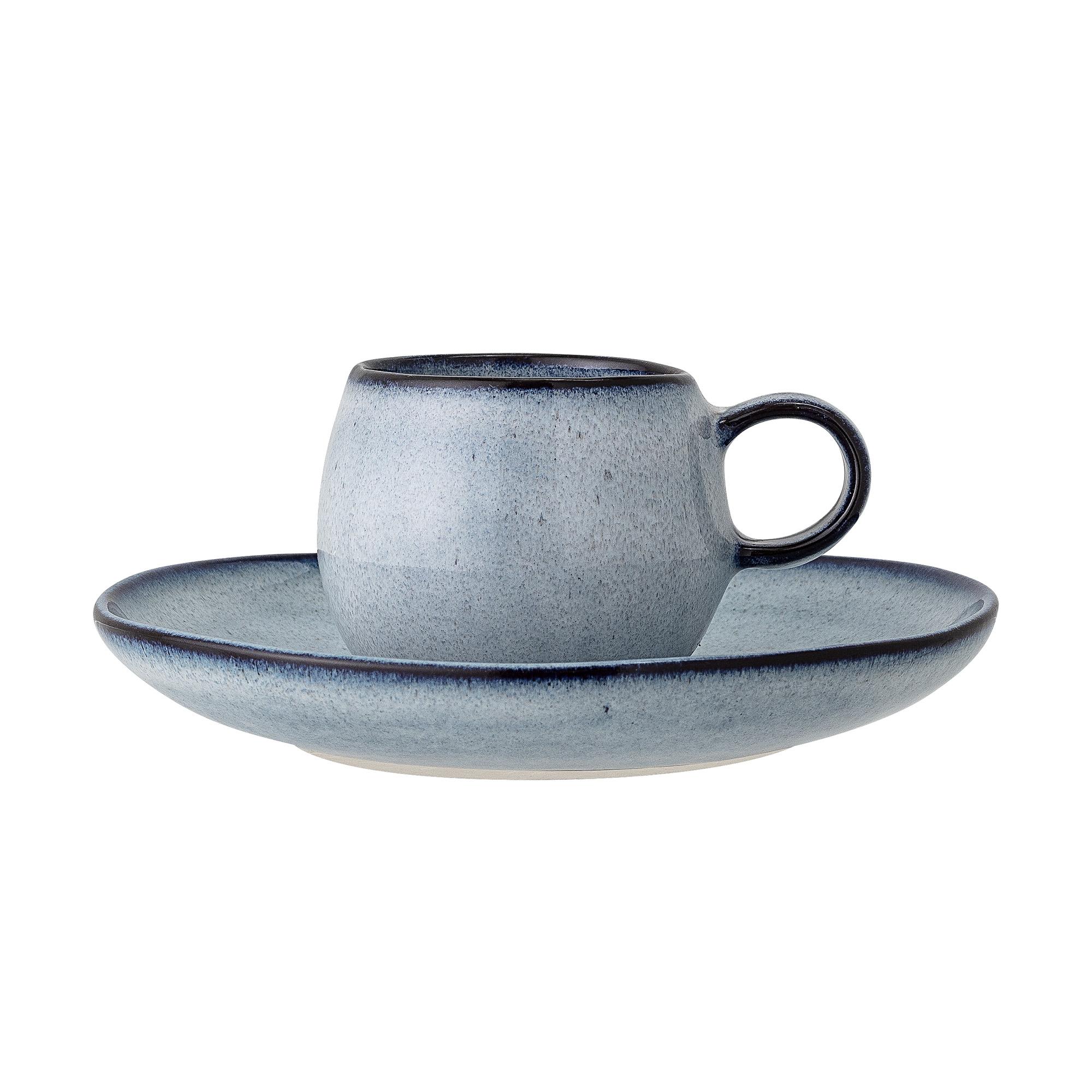 Sandrine Espressokopp med fat Blå Stengods