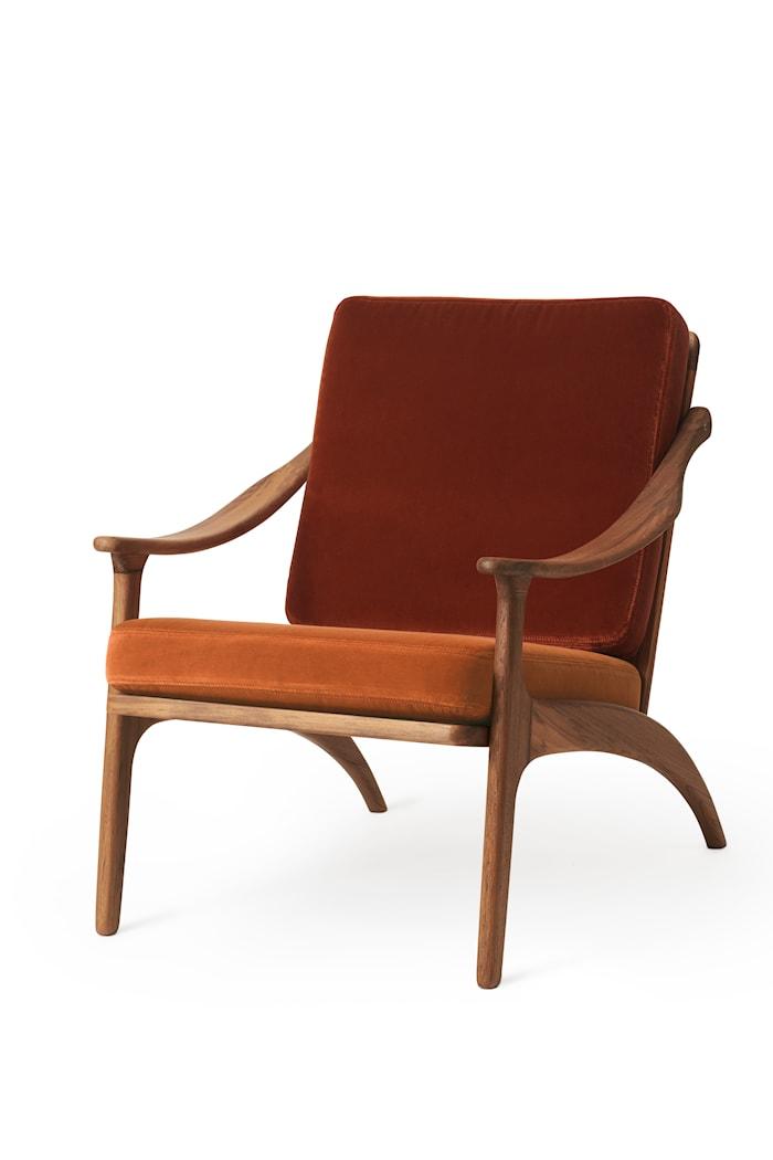 Lean Back Lounge Chair  Brick red velvet/Rusty rose Sammet Teak