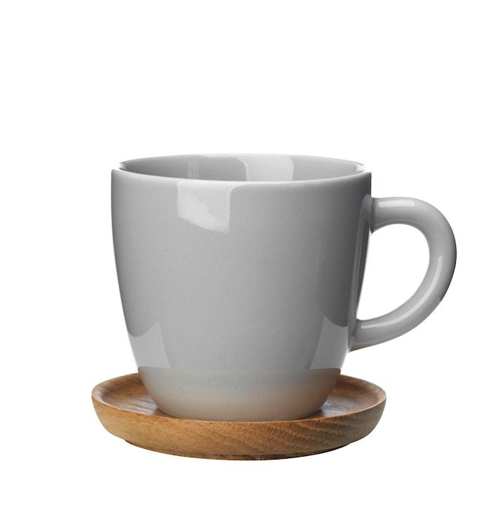 Kaffemugg 33 cl med träfat kiselgrå blank