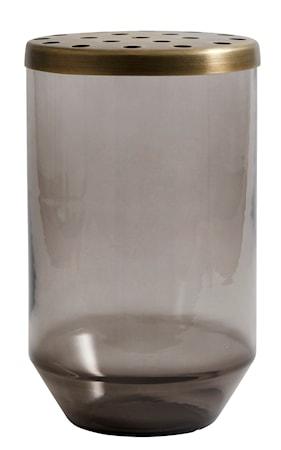 Glasvas metallock 20cm Grå