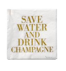 Serviet Hvid/Guld 'Drink Champagne' Papir 33x33cm 20-pak