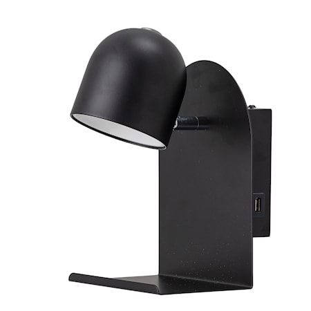 Vägglampa Svart Metall 21 cm