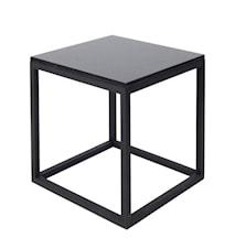 Cube Sidobord Small Marmor - svart/svart