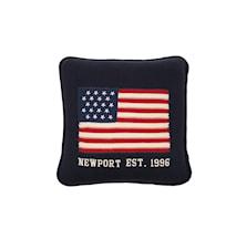 Newport Knitted Flag Pillow blue
