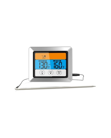 Stektermometer svart digital med sladd
