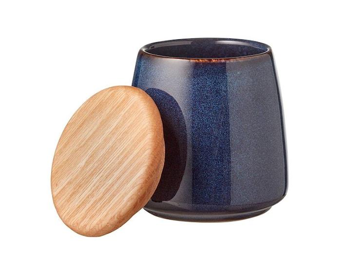 Purkki kannella 12 cm tummansininen