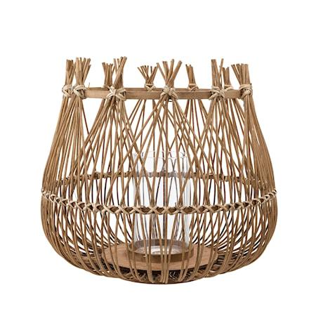 Katarina levende lys bambus / glass natur liten