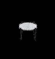 Single Deck Sidobord Vit Marmor med Svart Ram